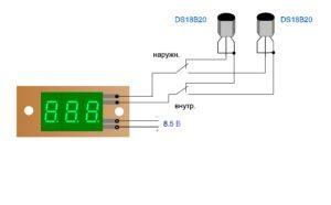 два датчика температуры DS18B20
